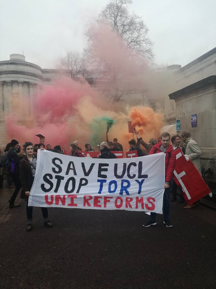 Flares and fighting spirit at UCL demo against TEF